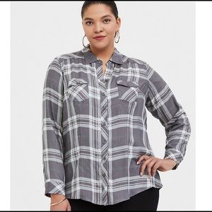 Torrid Plaid 100% Rayon Button Up Top